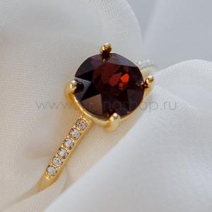 Кольцо Классика с кристаллом Сваровски винного цвета