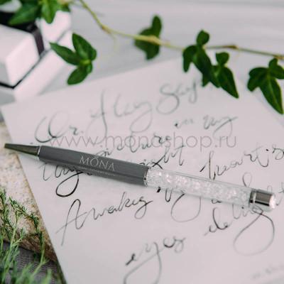 Ручка MONA серая с белыми кристаллами