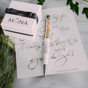 Ручка MONA белая с кристаллами цвета шампань