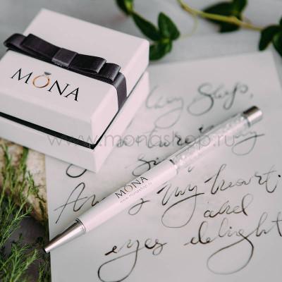 РучкаMONA белая с белыми кристаллами