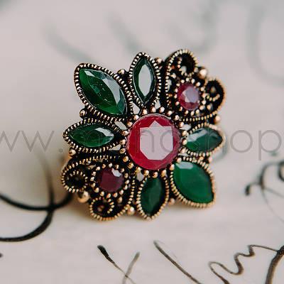Кольцо «Каменный цветок» винтажное с разноцветными кристаллами