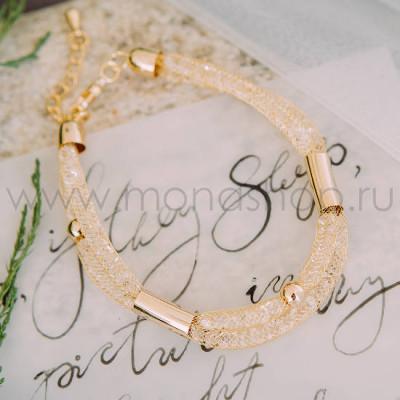 Браслет «Золотой виток» с белыми австрийскими кристаллами