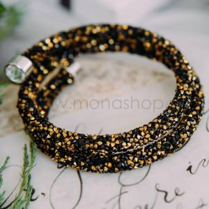 Браслет Звездная пыль с россыпью черных и золотых кристаллов