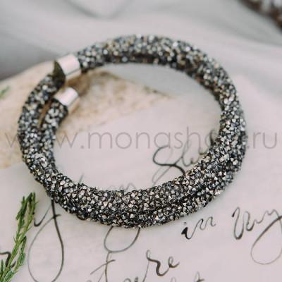 Браслет Звездная пыль с россыпью серых кристаллов