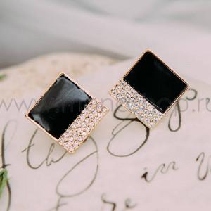 Серьги Черный квадрат с белыми австрийскими кристаллами