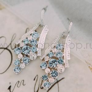 Серьги «Гроздья винограда» с голубыми австрийскими кристаллами