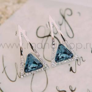 Серьги-треугольники «Клеопатра» с синими кристаллами Сваровски