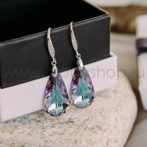 Серьги «Хамелеон» с фиолетовыми камнями Сваровски