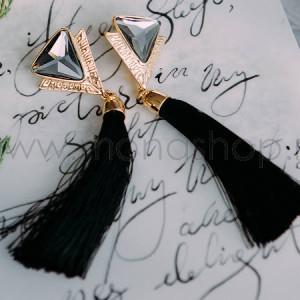 Серьги-кисточки Ночной дуэт с черными кристаллами-треугольниками