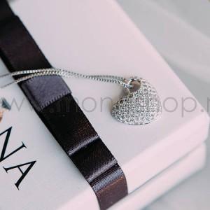 Кулон «Влюбленность» с сердцем-подвеской из австрийских кристаллов