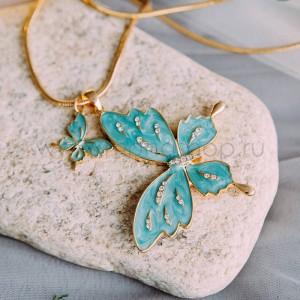 Кулон «Две бабочки» с голубой эмалью и австрийскими кристаллами