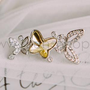 Брошь Бабочка лимонница с желтым кристаллом Сваровски