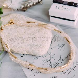 Колье «Золотой виток» с белыми австрийскими кристаллами