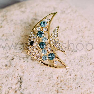 Брошь «Морская рыбка» с бирюзовыми кристаллами Swarovski