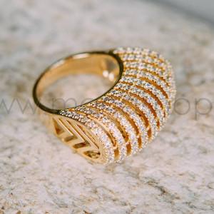 Кольцо-перстень Блеск солнца с белыми цирконами