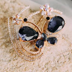 Брошь Бабочка с цветами с синими цирконами и кристаллами