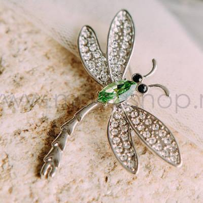 Брошь Стрекоза с зеленым кристаллом Сваровски
