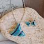 Серьги «Русалка» с голубой эмалью