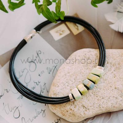 Колье-чокер «Панда» с зеленой глазурованной керамикой