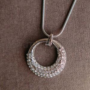 Кулон-подвеска «Блеск» круглая с белыми кристаллами Swarovski