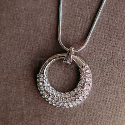 Кулон-подвеска Блеск круглая с белыми кристаллами Swarovski