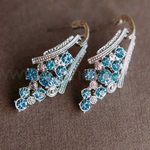 Серьги Гроздья винограда с голубыми австрийскими кристаллами
