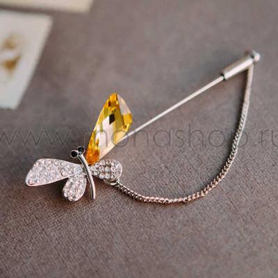 Брошь-игла «Порхание бабочки» с цепочкой и желтым кристаллом Сваровски
