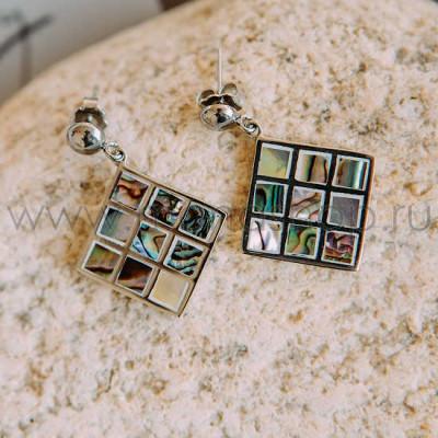 Серьги «Мозаика» с перламутром и эмалью