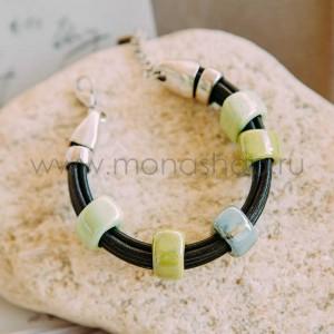Браслет «Панда» с зеленой глазированной керамикой