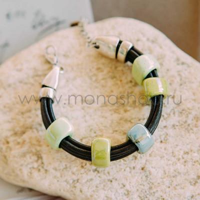Браслет Панда с зеленой глазурованной керамикой