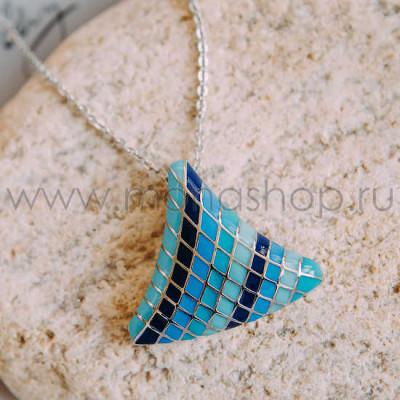 Кулон Русалка с голубой эмалью