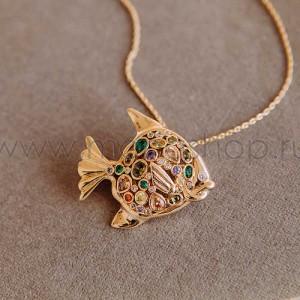 Кулон-брошь «Золотая рыбка» с разноцветными кристаллами Сваровски