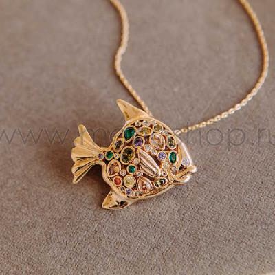 Кулон-брошь Золотая рыбка с разноцветными кристаллами Сваровски