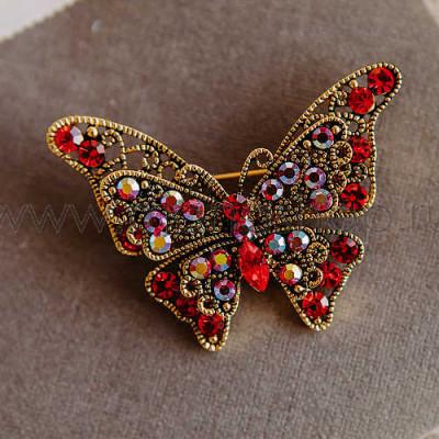 Брошь Красная бабочка с кристаллами Сваровски