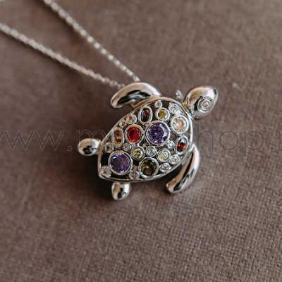 Кулон-брошь Черепаха с разноцветными кристаллами Сваровски