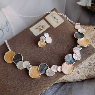 Набор украшений «Монетки» с разноцветной эмалью