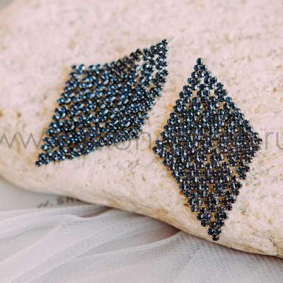 Серьги «Звездная ночь» с темно-синими кристаллами Swarovski