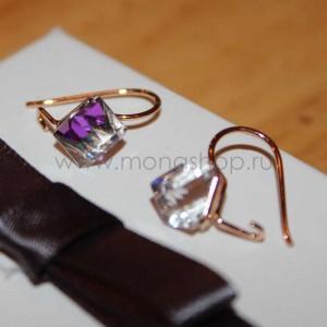 Серьги «Миражи» с фиолетовыми кристаллами-хамелеонами Сваровски, покрытие-золото