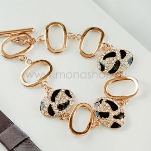 Браслет «Леопардовый» с черной эмалью и кристаллами