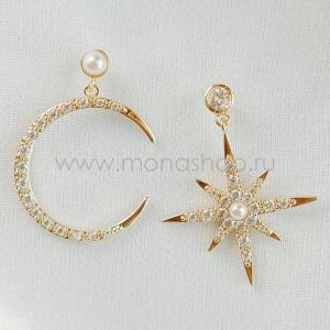 Серьги непарные «Звезда и Полумесяц» с белыми жемчужинами и фианитами