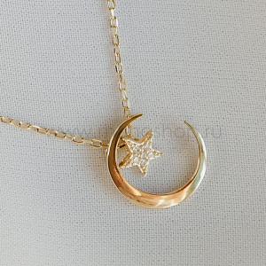 Кулон «Звезда в полумесяце» с белыми фианитами