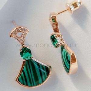 Серьги «Зеленый веер» с искусственным малахитом и кристаллами