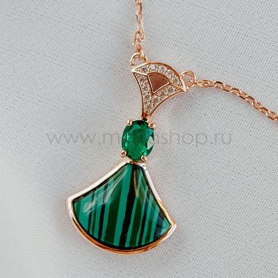Кулон Зеленый веер с искусственным малахитом и кристаллами