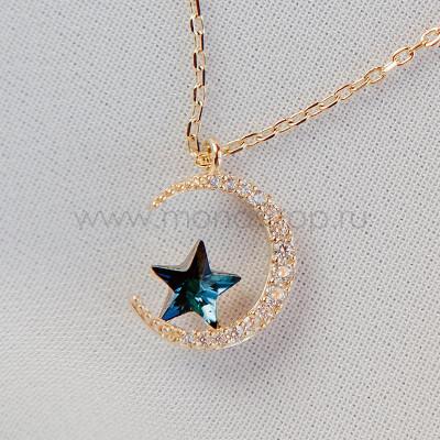 Кулон Полумесяц с синей звездой Сваровски и фианитами