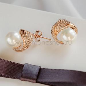 Серьги «Эдем» с белым жемчугом и австрийскими кристаллами, покрытие - золото