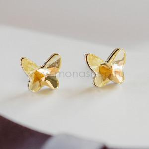 Серьги «Бабочка лимонница» с желтыми кристаллами Сваровски
