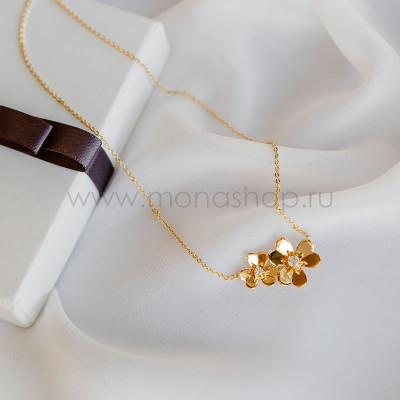 Колье «Золотые цветы» с белыми фианитами