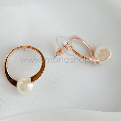 Серьги-кольца Вьюга с белыми жемчужинами