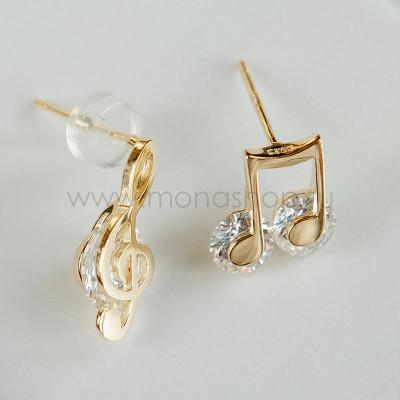 Серьги непарные Ноты и скрипичный ключ с белыми фианитами