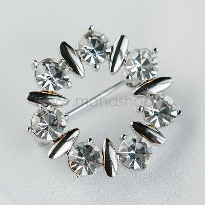 Брошь круглая «Танец» с белыми австрийскими кристаллами
